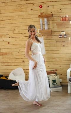 Tulle Backless Boho Wedding Dress Vintage Style With Sash