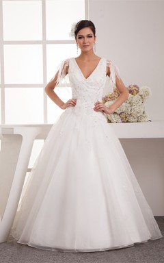 Plunged Tulle A-Line Gown with Pleats and Crystal Detailing