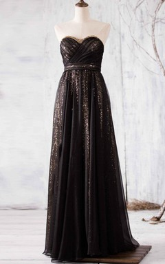 Long Strapped Backless Chiffon Dress With Sequins