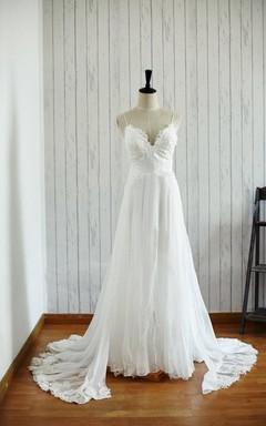Backless Chiffon Lace Satin Weddig Dress