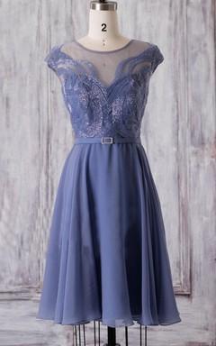 Mini Scoop Cap Sleeve Chiffon&Tulle Dress With Beading&Illusion
