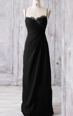 Long Spaghetti Strapped Sweetheart Chiffon&Lace Dress With Draping