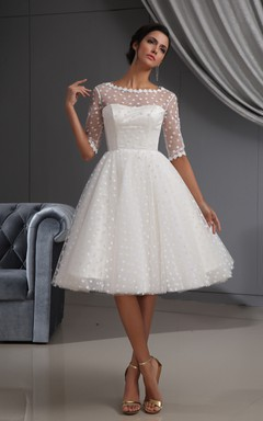 Half-Sleeve Illusion Midi Dress With Dot And Lace