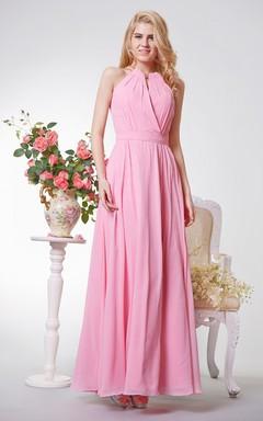 Sleeveless Long Chiffon Dress With Jewel Neckline