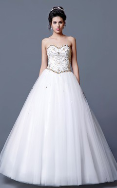 Breathtaking Full Length Princess Style Gown Subtle Sweetheart Neckline
