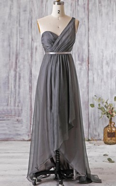 A-line Maxi One-shoulder Backless Chiffon Dress