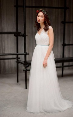 Romantic Asymmetrical Sleeveless A-Line Ruched Tulle Gown