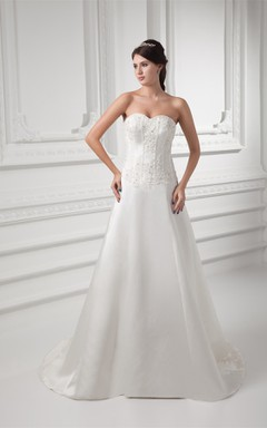 Sweetheart Satin A-Line Gown with Appliqued Bodice