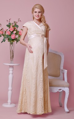 Cap-sleeved Sheath Lace Gown With Criss-crossed V Neck