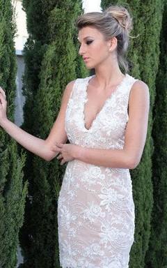 Deep-V Neck Sleeveless Short Sheath Lace Wedding Dress