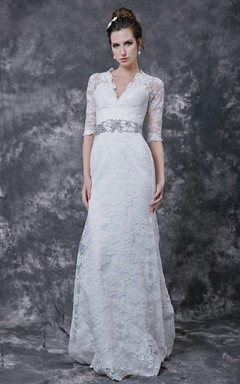 Stylish 3/4 Sleeve Long Lace Dress With Crystal Embellished Waist