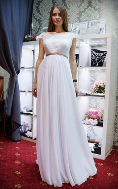 Empire Straps Empire Chiffon Lace Wedding Dress