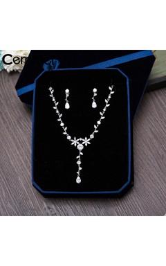Korean Simple Temperament Super Shiny Luxury Natural Zircon Leaves Bridal Necklace Three Sets