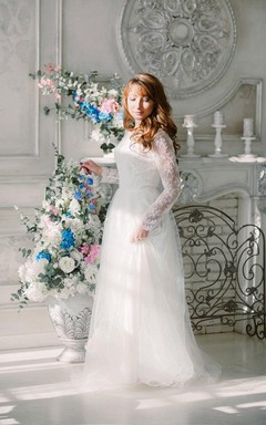 Tulle Long Sleeve Floor-Length Lace Illusion Dress