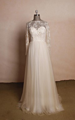Jewel Neck Long Sleeve A-line Tulle Wedding Dress With Lace Bodice