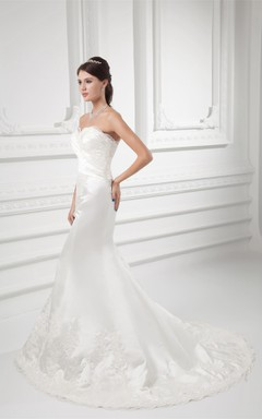 lace mermaid sweetheart dress with brush train and low-v back