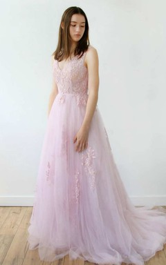 Plunged Sleeveless Tulle A-Line Dress With Appliques And Deep-V Back