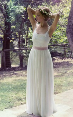 Sleeveless Pleated Long Dress With Appliques And Bow