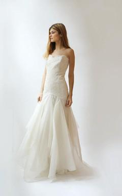 Chiffon and Lace Long Wedding Dress With Dropped Waist and Ruffles