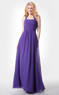 Halter A-line Long Chiffon Dress With Ruching
