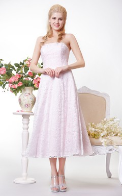 Graceful Strapless All-over A-line Lace Tea Length Dress
