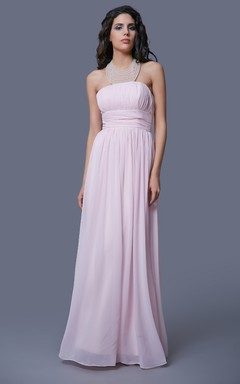 Modern Empire Waist Strapless Dress With Pleats