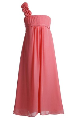 One-shoulder A-line Pleated Dress With Flower