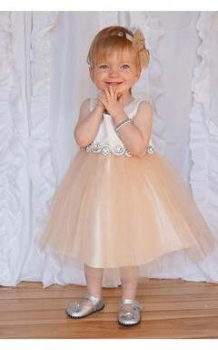Satin Bodice Sleeveless Tulle Flower Girl Dress With Rhinestone Belt