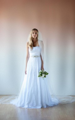 Modern Vintage Strapless and Beaded Lace Wedding Bridal Gown