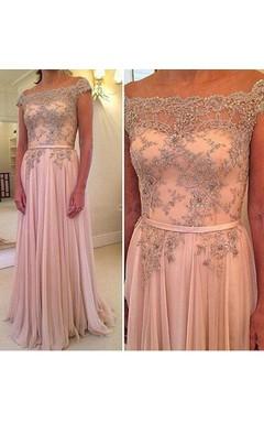 A-line Cap Sleeve Chiffon Beading Lace Dress