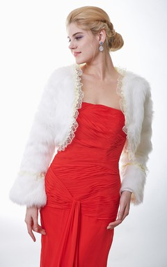 Faux Fur Bridal Wrap With Long Sleeves And Lace Trim