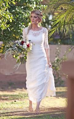 Mermaid Illusion Sleeve Satin Lace Button Zipper Keyhole Wedding Dress