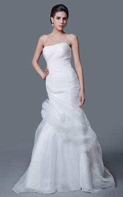 Impressive Strapless Ruched Organza Mermaid Dress
