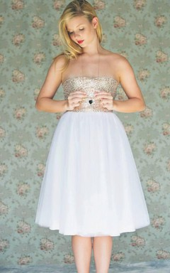 Short Tulle Dress With Sequins
