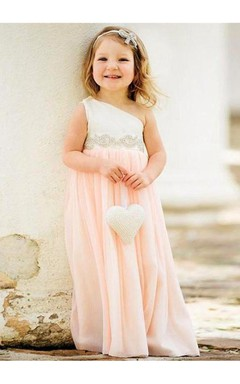 Delicate One Shoulder Chiffon Flower Girl Dress 2016 Pearls