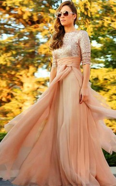 Stunning Sequins Long 2016 Evening Dress Half Sleeves Prom Gown