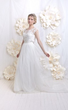 Romantic Wedding French Lace Top And Tulle Skirt Dress