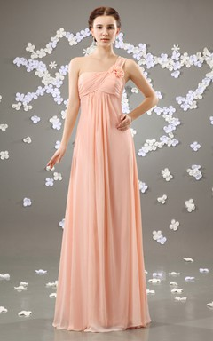 Chiffon Asymmetrical One-Shoulder Maxi Dress With Flower