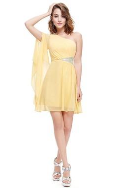 A-line One-shoulder Short Mini Pleated Chiffon Dress