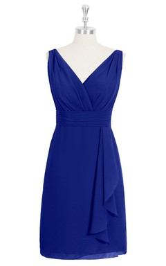 Sleeveless V-Neck Chiffon Dress With Side Draping and Ruching