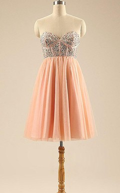 Beautiful Short Evening Crystal A Line Tulle Skirt Mini Graduation Cocktail Prom Homecoming Birthday Party Gowns Dress