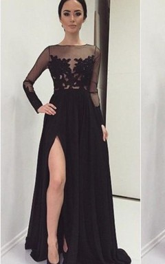 Sexy Lace Appliques Black 2016 Prom Dress Front Split Long Sleeve Illusion Sweep Train
