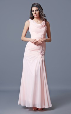 Graceful Sleeveless Cowl Neckline Ruched Chiffon Gown With Beaded Detail