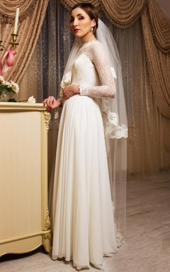 Long Sleeve Chiffon Lace Satin Weddig Dress