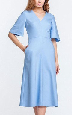 2016 Trendy Bell Sleeve Tea-length Dress With Pockets