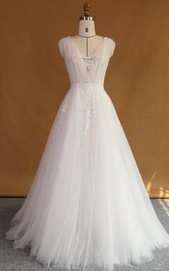 A-Line Strapped V-Neck Lace Satin Dress With Appliques Low-V Back