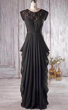 Chiffon&Lace Dress With Draping&Illusion