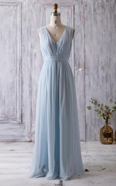 2016 Fairy Light Blue Bridesmaid Dress