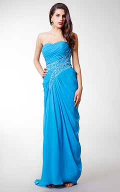 Strapless Chiffon Long Dress with Side Split