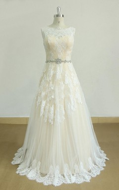 A-Line Tulle Lace Satin Dress With Beading Sash Ribbon